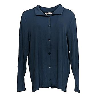 Anybody Women's Top Cozy Knit Collared Rib Button Front Blue A367698