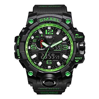SMAEL Military Dive Watch for Men - Rubber Strap Quartz Movement Analog Digital for Men Green
