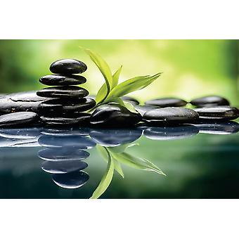 Foto veggmaleri Zen basalt steiner og bambus