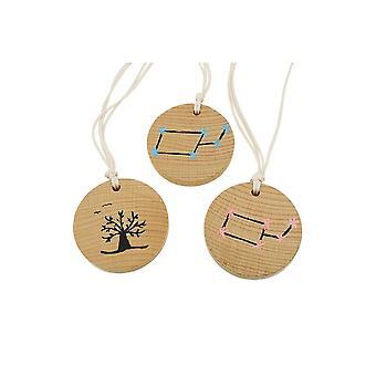 Halskette Holz Anhänger Fantasy Design