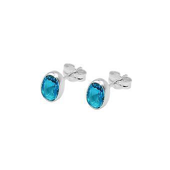 Stud Earring Blue Silver 925
