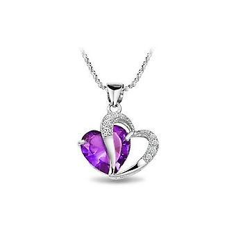 Rhodium Diamond Accent Heart Shape Pendant Necklace Purple Amethyst