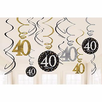 Amscan Gold Celebration 40th Birthday Swirl Decorations (Pack of 12)