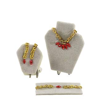 Dolls House Red Jewellery Set On Display Bedroom Dressing Table Shop Accessory