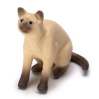 Dolls House Siamese Cat Sitting Looking Up Miniature Pet Animal 1:12 Scale