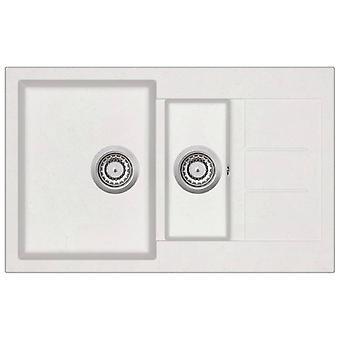 vidaXL Granite sink double basin White