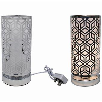 Silver Touch Lamp Geometric By Lesser & Pavey (UK Plug)