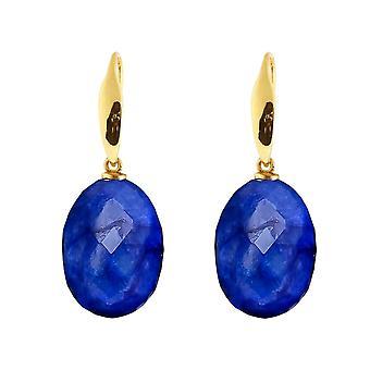Gemshine Ohrringe 3-D tiefblaue Saphir Edelsteine. 925 Silber oder vergoldet