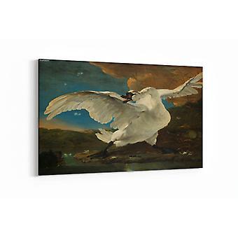 Schilderij - De bedreigde zwaan — 100x70cm