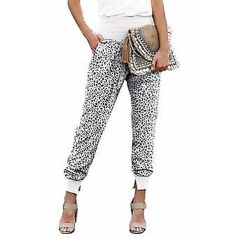 Womens White Leopard Pocket Casual Pants With Slit