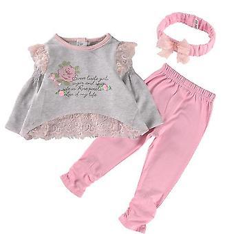 Nueva primavera manga larga bebé chica top y pantalones traje