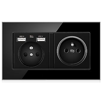 Eu Two-slot Glass Panel With Pin Power Socket 16a With 2 Usb