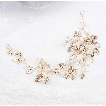 Hojas vintage y cabezal nupcial floral crystal pearl vine flor cabello