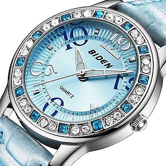 BIDEN BD1110 Clássico Crystal Mulheres Relógio de Pulso Relógio de Couro Cinta Casual Quartz Relógio