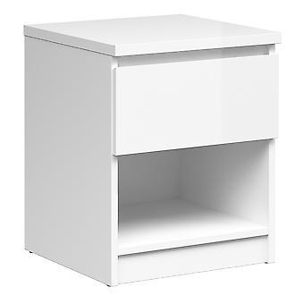 Saian Bedside - 1 Schublade 1 Regal in Weiß Hochglanz