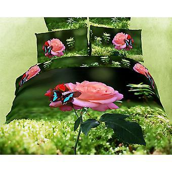 Conjunto de sábanas de cubierta de edredón king size, rosa mariposa