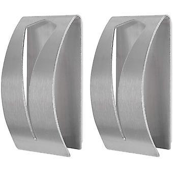 FOCCTS 2Pcs Tea Towel Holders Self Adhesive Towel Holders Brushed Stainless Steel Hand Towel Hook