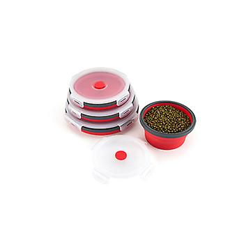 4pcs Round sealed lunch box portable Silicone folding fresh-keeping box