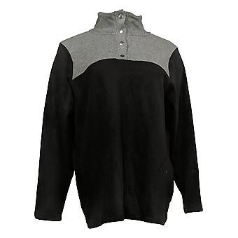 Cuddl Duds Women's Fleecewear Stretch Snap-Front Pullover Black A381756