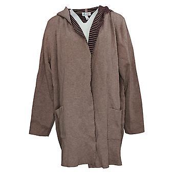 Denim & Co. Women's Sweater Double Knit Hooded Cardigan Brown A309546