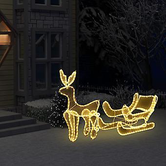 vidaXL أضواء عيد الميلاد الرنة ومزلقة مع شبكة 216 المصابيح