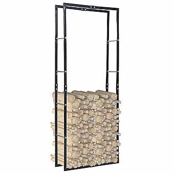 Brennholzregal Schwarz 80x25x200 Cm Stahl