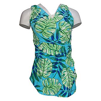 Denim & Co. Swimsuit Beach Impresso Surplice Swim Dress Azul A375181