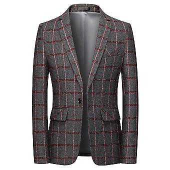 YANGFAN Men's Classic Plaid Blazer Casual One Button Single Breasted Notched Lapel Checked Suit Jacket