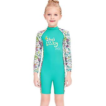 Kids wetsuit long sleeve one piece uv protection thermal swimsuit dfse-8