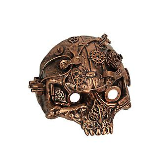 Copper Steampunk Half Face Cyborg Skull Mask Phantom Gear Cosplay Masquerade