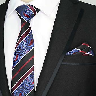 Burgundy blue & black paisley pocket square & tie set