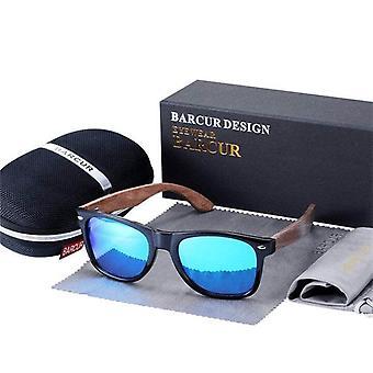 Wood blue lens gloss black frame traveller sunglasses