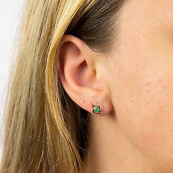 Elements Gold Womens 9ct Yellow Gold Green Emerald Celtic Flower Floral Stud Earrings with Post & Butterfly