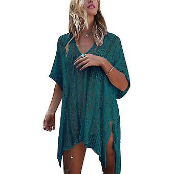 Beach Swimsuit For Women Sleeve Coverups Bikini Cover Up Net(Peacock Blue)