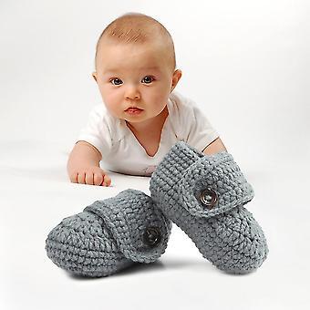 1 Pair Cute Infants Toddlers Baby Soft Crochet Knit Crib Shoes Walk Socks