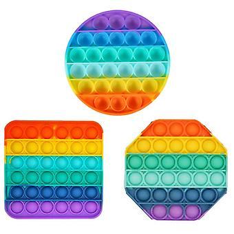 3pcs Push Bubble Sensory Toy Rainbow Stress Relief Fidget Funny Education Puzzle Game Toy Decompression Artifact For Adults Kids