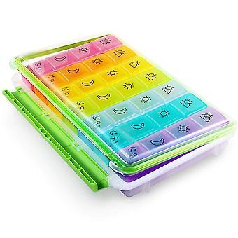 Distributore di pillole portapillole arcobaleno a 28 griglie da sette giorni