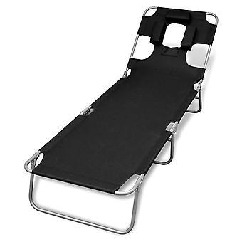 vidaXL طاولة قابلة للطي مع مسحوق وسادة المغلفة الصلب الأسود