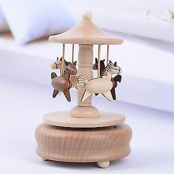 Yp1502 Vintage houten lente carrousel muziekdoos kerstcadeau draaimolen