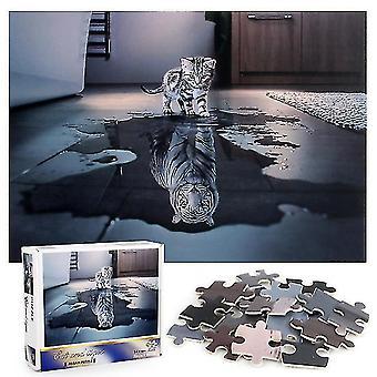 Copoz 1000pcs Cat and Tiger Jigsaw DIY Puzzle Toys Assembling Picture Decoration