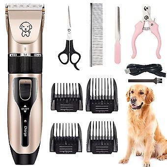 Pet Dog Pro Electric Clippers Zvířecí péče Zastřihovač Holicí strojek Kit Low-noise USB Akumulátor