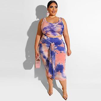 बड़े आकार की पोशाक तंग सेक्सी म्यान नाभि दो टुकड़ा टाई डाई प्रिंटिंग सूट