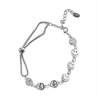Silver plating Smiley Face Bracelet Fine Jewelry for Women Couples Fashion Elegant Party Accessories