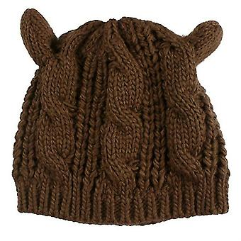 Brown Ladies Autumn And Winter Wool Beret Twisted Cat Ears Shape Hat Knitted Warm Hat, Size:One Size