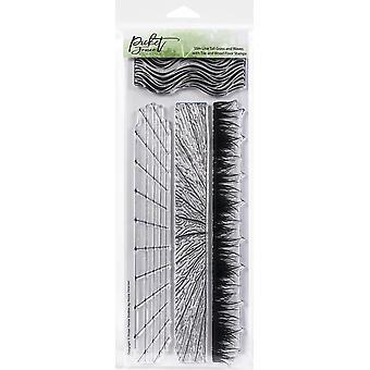 "Picket Fence Studios 4""X12"" -leimasetti - Slim Grass & Aallot W/Laatat & Puulattiat"