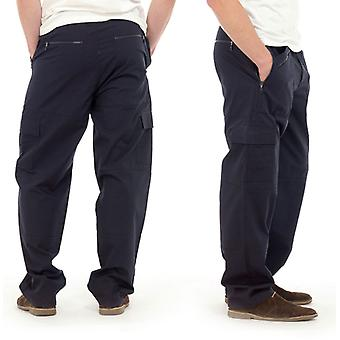 Tom Franks Mens Long Plain Polycotton Outdoor Cargo Action Trousers - Navy - 2XL