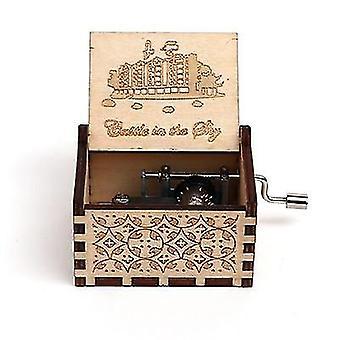 18 Toon gesneden houten hand crank muziek doos Collectible