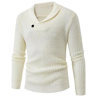 Mile Men's Sweatshirts Casual Button Shawl Collar Long Sleeve Solid Sweatshirt Pullover
