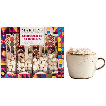 Martin's Chocolatier Hot Chocolate Stirrers (1 Box) Banana & Caramel Milk Chocolate | Hot Chocolate Spoons with Marshmallows | Flavoured Chocolate Drink | Belgian Chocolate Gift Set