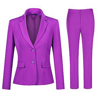Mile Women's Slim Fit 2 Piece Suit, Two Button Solid Jacket Pants Set